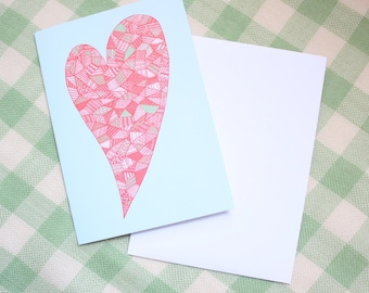 SALE / Valentine's Heart greeting card / Spring themed card / Valentines Day card / Illustrated greeting card