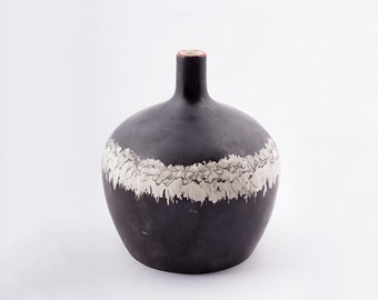 Ceramic vase,matt black/made in france/artist's vase/unique and signed vase/original gift
