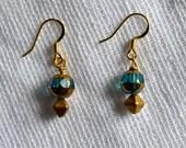 Aqua & Gold Laser Cut Glass with Gold Czech Glass Beaded Drop Earrings