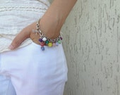 silver-plated color of natural stone bracelet