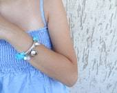 turquoise, white coral, aqua marine natural stone bracelet
