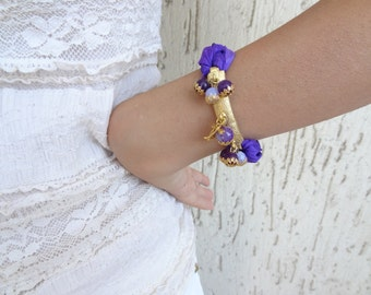 Purple Silk Bracelet, Amethyst Bracelet, Turkish Bracelet, Women's Jewelry, Elegance,Feminine Bracelet, Valentine's, Mother'S Day Gift
