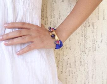 Saks Blue Turkish Silk Bracelet-Gold Bracelet-Semi-Precious Stone Bracelet