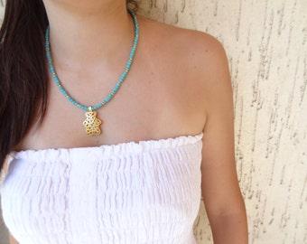 Turquoise Necklace,  Bear Figure Pendant, Gold Necklace, OOAK Feminine Handmade Necklace