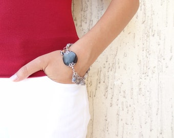 Smoky Quartz Bracelet, Grey Turkish Silk Bohemian  Bracelet, , Feminine OOAK Bracelet