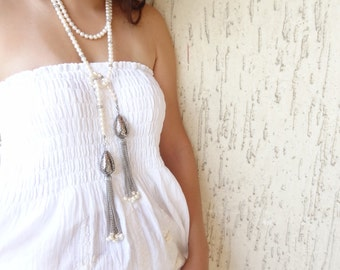Wedding Necklace - Pearl Necklace with Silver  Plated - Bridal Necklace