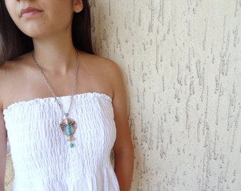 Fish Necklace-Turquoise Stone Necklace- Chain Necklace