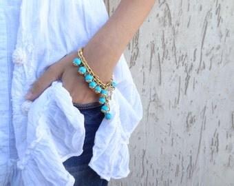 Turquoise Bracelet, Gold Bracelet, Stones Bracelet, Charm Bracelet