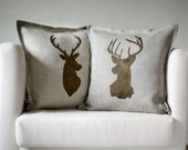 Deer head pillows set of 2 Reindeer antique bronze hand  print on natural linen cushion covers  0124