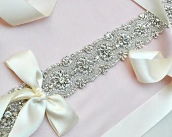 Wedding Sash Bridal Belt Swarovski Rhinestone Pearl Wedding Sash