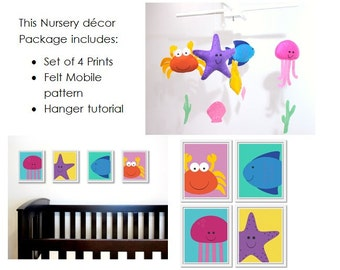 Seaside Nursery Decor Package: includes felt baby mobile pattern and set of four 8x10 printable sea animal artworks.