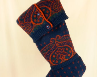 Christmas Stocking Felted Wool//Pendleton//Navy Blue//Red//Patterns 403