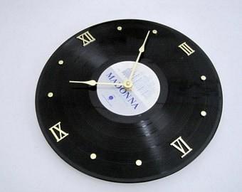 MADONNA - Vinyl LP record album clock - True Blue - Upcycled