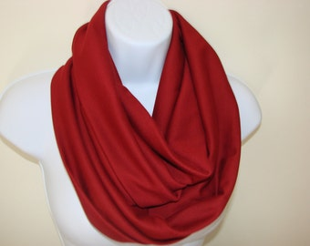 Burgundy Infinity Scarf, Wine Eternity Scarf, Dark Red Cowl Jersey Knit, Infinity Scarves Circle Loop Scarf, Fall Winter Woamn Fashion Scarf