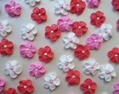 Royal icing flowers in pink, red and white  -- Cake decorations cupcake toppers  edible (48 pieces)