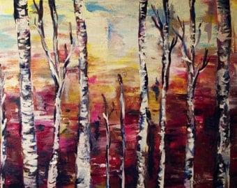 "Trees at Sunset ORIGINAL 20""x16"" Acrylic Painting"