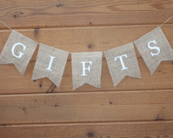 Wedding Gifts Table Burlap Banner / Gift Table Sign