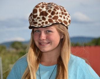 Giraffe and Leopard Print Reversible Fleece Newsboy Hat