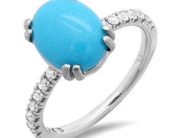 Gorgeous Turquoise Ring with Diamonds