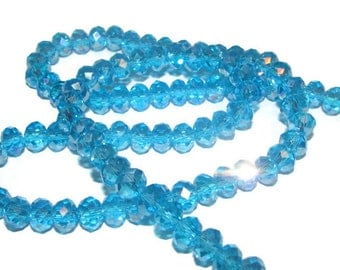 10 AB Turquoise Faceted Crystal Rondelles - approx 4x6mm (011)