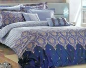 Moroccan Damask Duvet Cover Set in Navy, Baby Blue, Pinkish Beige for Queen, Double or Full Bedding – 3pcs Set of Duvet Cover & Pillow Cases