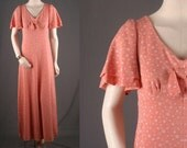 Vintage Maxi dress peach coral bell sleeves floral 70s women size S small