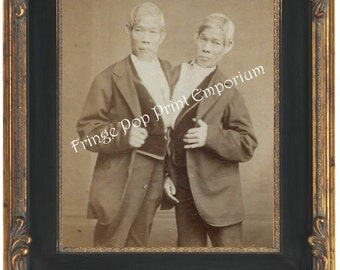 Victorian Sideshow Circus Freak Art Print 8 x 10 - Chang & Eng - Siamese Twins - Conjoined