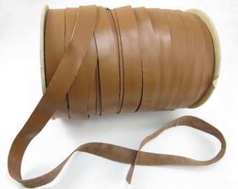 Russet Brown Genuine Leather Strips 2cm , 9yards