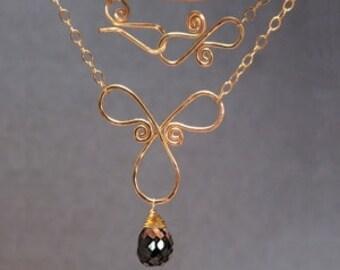 Hammered swirl with black garnet Necklace 238