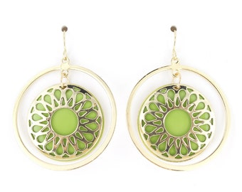 Special Gold Tone Green/Yellow Hoop Round Plate Earrings,C3