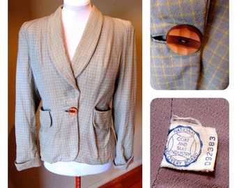 Vintage 1940s Ladies Jacket - Powder Blue & Yellow Stripe L