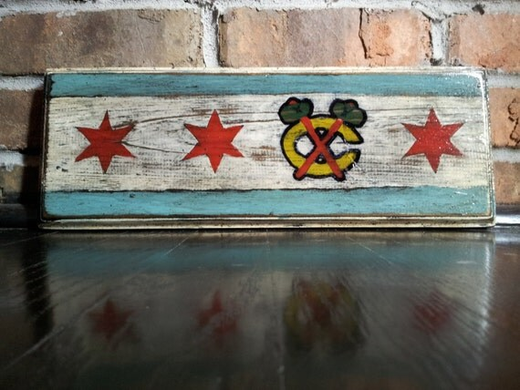 Handcrafted Blackhawks Chicago Flag