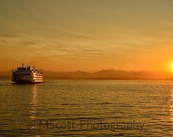 Seattle Ferry Photograph | Seattle Art | Landscape Photography | Pacific Northwest Art | Puget Sound | Large Format Wall Art | Home Decor