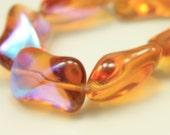 Bead, Preciosa® Czech pressed glass, honey AB, 14.5x9.5x6.5mm twist. Qty 9, Czech Glass Bead