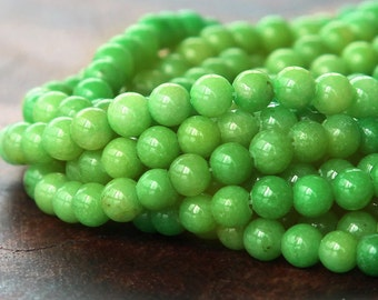 Mountain Jade Beads, Apple Green, 4mm Round - 15.5 Inch Strand - eMJR-G17-4