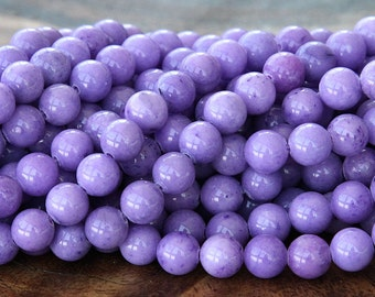 Mountain Jade Beads, Lavender, 6mm Round - 15 Inch Strand - eMJR-M24-6