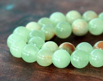 Flower Jade Beads, Celadon Green, 10mm Round - 15 inch Strand - eFJR-193-10
