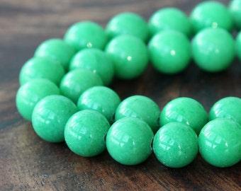 Mountain Jade Beads, Light Green, 10mm Round - 15 Inch Strand - eMJR-G19-10