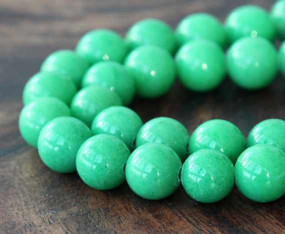 Mountain Jade Beads, Light Green, 10mm Round - 15 Inch Strand - eMJR-G19-10
