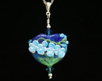 Turquoise and White Orchids at Night, Medium Sized Handmade Lampwork Moretti Glass Focal Bead Pendant