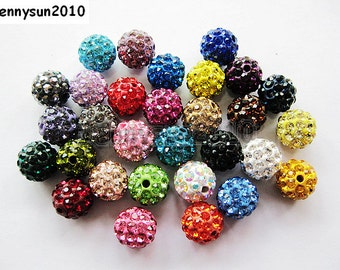 20pcs Top Quality Czech Crystal Rhinestones Pave Disco Round Ball Bead Spacer 10mm For Bracelet and Necklace Jewelry Making Pick Colors