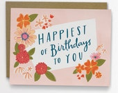 Happiest of Birthdays Floral Birthday Card 134-C
