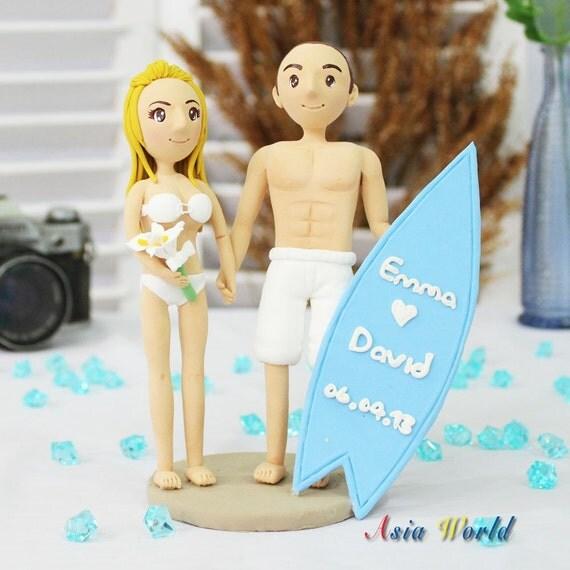 Wedding cake topper Beach wedding clay doll with surfboard clay figure, custom clay miniature, clay figurine bridal shower, anniversary gift