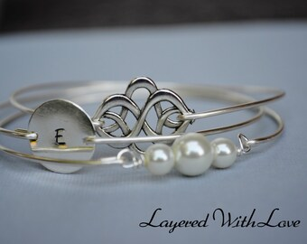 Silver Celtic Knot Bangle Set- Silver Bracelet- Intial Bangle- Stamped Bangle- Personalized Bangle- Bridesmaids Gifts- Minimalist Jewelry