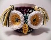 Crochet Owl cup cozy mixed colors Mug cozy coffee cup cozy Fall colors