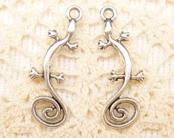 Artsy Swirl Tail Lizard Charms, Antique Silver (6) - S172