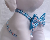 Dog Harness / Blue & Orange Plaid - Size  XS, S, M