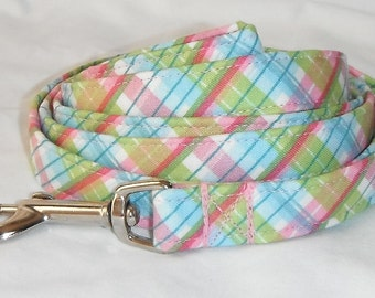 Dog Leash - Green And Pink Plaid
