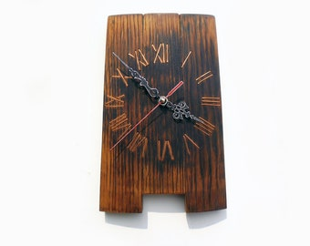 wall clock from the old wine barrel, wooden clock, unique gift