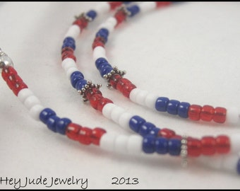 Handmade Eyeglass Leash - Stars and Stripes - Red, White, and Blue